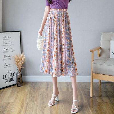 Summer Pleated Skirts Women High Elastic Waist Beach Boho Chiffon Skirt Vintage Loose Long Midi Skirts Elegant Harajuku W933