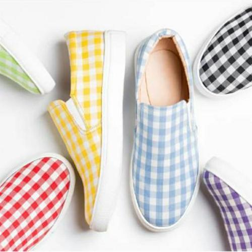 2020 Autumn New Women Flats Fashion Women Casual Shoes Candy-colored Plaid Flat Shoes Women Loafers Large Size 35-43 W24-16