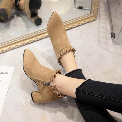 2020 Winter Shoes Woman Ruffles Boots Side Zip Ankle Boots Black High Heels botas mujer chunky Heels Bare botines 7674
