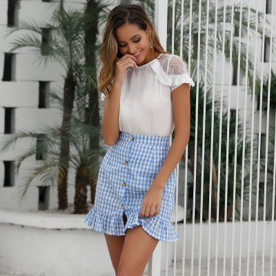 Foridol Button Check Blue Skirt Women High Waist Cotton Plaid Ruffle Skirt Bottom Elegant Office Gingham Skirt Female Mini Skirt