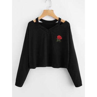 2020 New Pullover Hoodies Fashion Women's Casual Broadcloth Rose Printed Sweatshirt Long Sleeve V-neck Crop Short Tops #F5