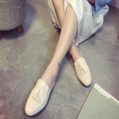 Elegant Women Mules Woman Tassel Slippers 2020 Casual Leather Women's Low Heels Outdoor Ladies Slip On Closed Toe Female Shoes