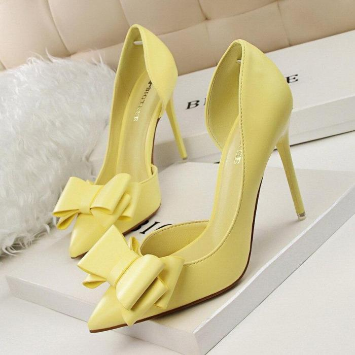 Women Pumps Fashion High Heels Femals Shoes Pumps Hollow Pointed Toes Women Heels Shoes Sweet Pink Red Stiletto 10.5cm G0093