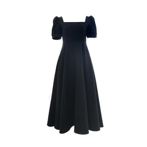 Elegant French Black Dress Women's 2020 Summer New Elegant Square Collar Hepburn Style Small Black Dress