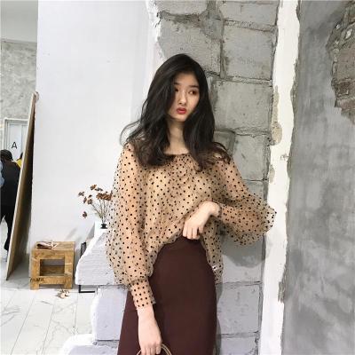Polka Dot Pullover Top Female O Neck Lantern Long Sleeve Perspective Shirts Blouse Women 2020 Spring Korean Fashion Streetwear