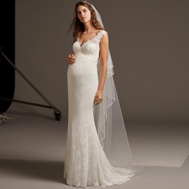 2020 Mermaid Pregnant Wedding Dresses Sleeveless Bridal Gown V Neck Lace Plus Size Wedding Dress Boho Backless Bride Dress