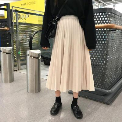Solid Pleated Skirts Women Long Maxi Skirts Elastic Waist Autumn Winter Harajuku Skirt Party Korean Elegant 2019 Pleated Skirt