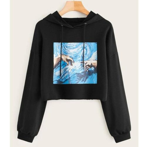 2020 Women  Hoodie Crop Top Long Sleeve Pullover Graphic Print Sweatshirt