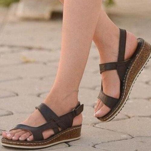 New Women Sandals Summer Middle Heels Wedge Casual Ladies Shoes Solid Hook & Loop Female Shoes Big Size 35-43 Outdoor Beach