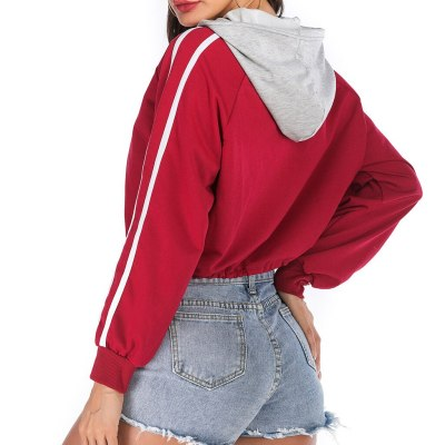 Red White Patchwork Fashion Sport Hoodie Casual Drawstring Lace Up Short Sweatshirt Women Long Sleeve Hooded Pullover Tops #Y3