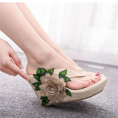 Women Summer Flip Flops Appliques Wedges Slippers Ladies Casual Female Solid Flowers Footwear Woman Shoes Plus Size 2020