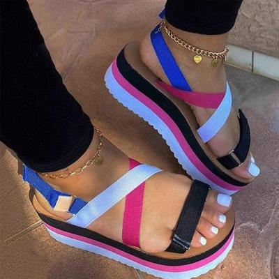 Sandals Women Wedges Platform Candy Color Ladies Hemp Shoes Ladies Summer Casual Slip On Strap Cross Cool Girls New