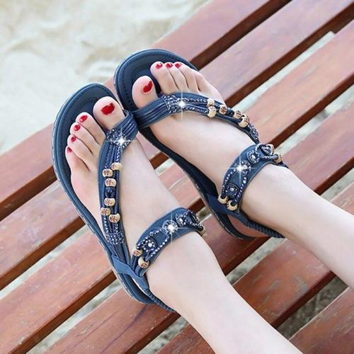 Women's sandals Flat Rhinestone sandals Flip flops Designer Beach shoes Casual Female summer sandals Comfort