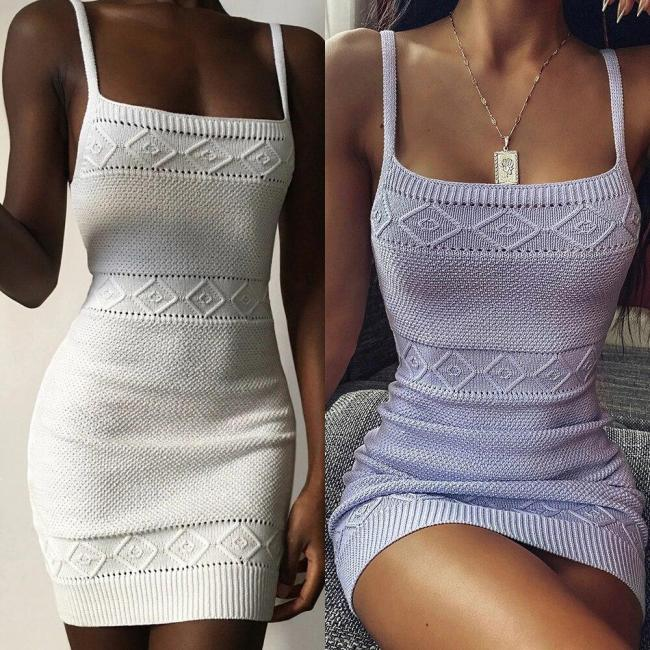 Knitted Summer Dress Sleeveless Spaghetti Strap Women Sundress Mini Dress Sexy Club Party Bodycon Female Knit Dresses D30