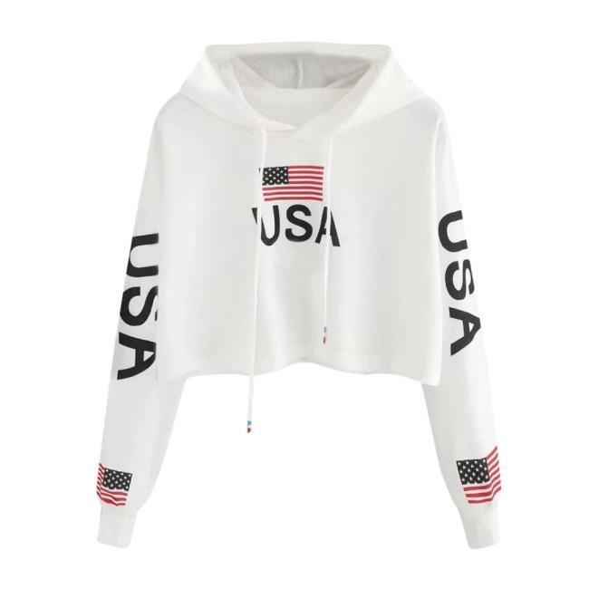 American Flag USA Letters Print Hoodie Women Autumn Harajuku Casual Short Sweatshirt White Drawstring Hooded Pullover Top #Y3
