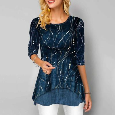 Loose Casual Women Lines Top Shirts Long Sleeve Print Blouses Shirt Patchwork For Women 2020 New Plus Size Shirt