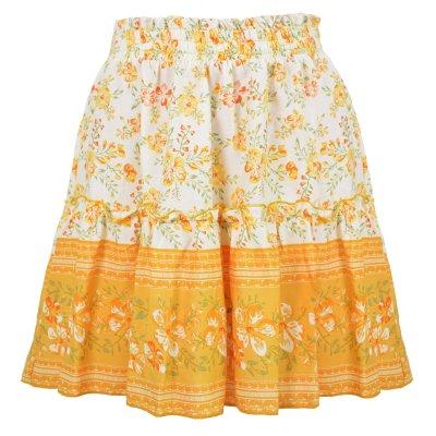 Ruffle mini skirt autumn winter women casual short skirt elegant floral print girl skirt A-line skirt female 2020
