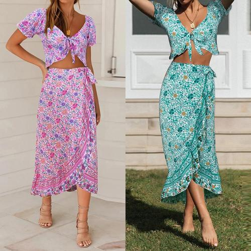 2020 Elegant Women Summer Long Skirt Set Bohemian Style Sexy Hollow Out Crop Top Skirt Floral Print V-Neck Women Beach Dress D30