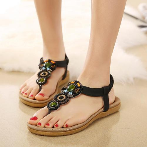 Women sandals 2020 new style bohemia national style gladiator sandals women clip toe flats beach shoes chaussures femme