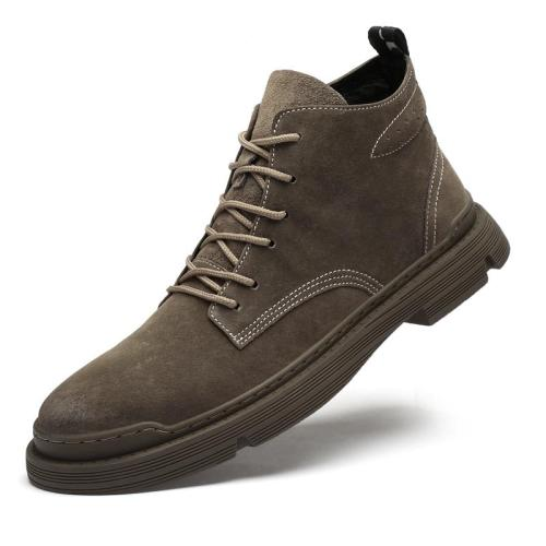 Men Boots 2020 Cattle Suede Comfortable Autumn and Winter Low To Help The New Fashion British Style Men's Martin Boots