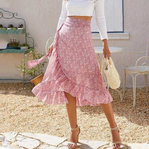 Wrap chiffon midi skirt autumn winter women casual long skirt side slit ruffle pink skirt elegant office lady skirt female