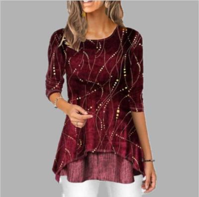Round Neck 2020 Spring Summer Blouse 3/4 Sleeve Casual Printing Irregularity Female fashion shirt Tops Plus Size StreetShirt