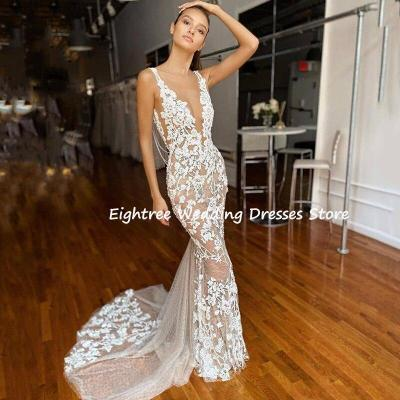Eightree Mermaid Wedding Dresses Sexy Deep V Neck Lace Appliques Beach Boho Wedding Gown Custom Bridal Dress Vestido de Noiva