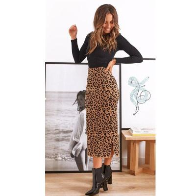 Fashion Sexy Leopard High Waist Office Lady Bodycon Pencil Long Skirts 2020 New Autumn Winter Women Elastic Tight Maxi Skirts