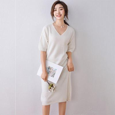 short sleeves wool dress soft warm sweater for womens spring pullover v neck solid fashion casual female knitting long dresses