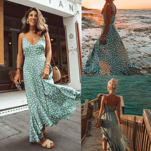 Summer Dress For Women Beach Polka Dot Printed Ladies Maxi Dress Sleeveless Spaghetti Strap Cami Green V Neck Female Dress D30
