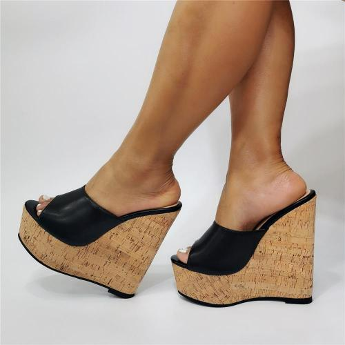 Gladiator leather Wedges sandals For Women Fashion Brand thick Wood High Heel party Night Club Shoes Sexy platform sandals