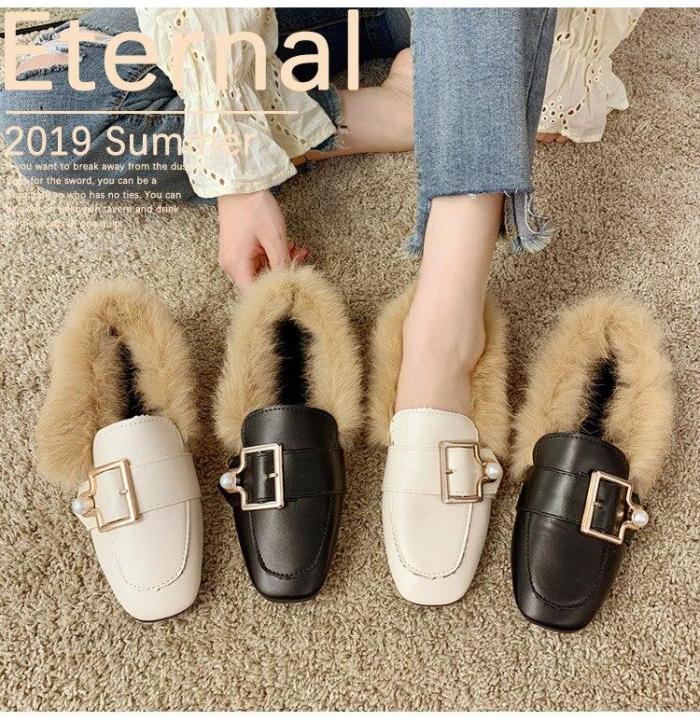 Women Flat shoes Buckle with Fur  Female Loafers with Pearl 2019 Design Light weight Women outdoor shoes comfortable Nonslip