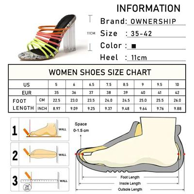 Snake Pattern Woman Sexy Slippers Casual Mixed Colors Women Transparent High Heels Peep Toe Ladies Square Heels Shoes Plus Size