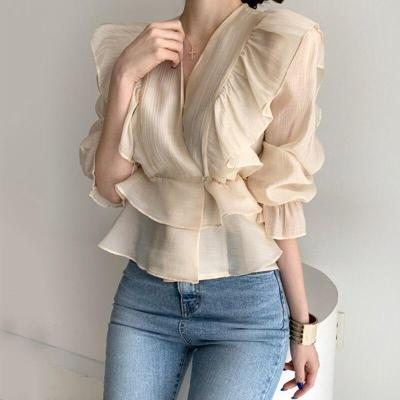 Korean Chic Vintage V-neck Heavy Industry Panel Ruffled Chiffon Puff Sleeve Shirts Women Blouses New Fashion Streetwear 2020