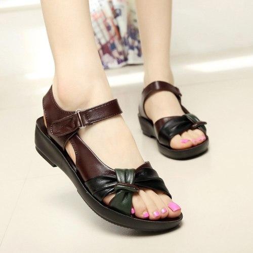 Women Ladies Summer Sandals Fashion Leather Knot Sandals Comfort Shoes Open Toe Shoes Solid Color Wild Wedges Sandal