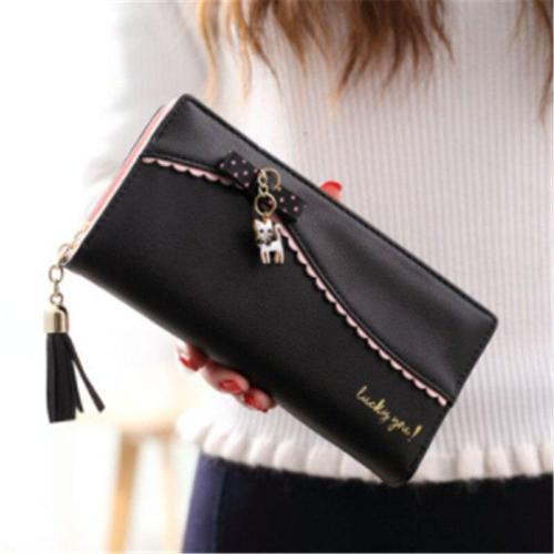 Fashion Women's Wallet New Korea Sweet Long Wallet Bow Lady Kitten Pendant Wallet Solid Card Holder Women Clutch Handbag Bag