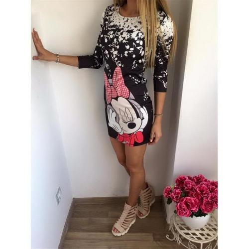 Cute Cartoon Printing Summer Dress Women Sheath Half Sleeve Bodycon Vestidos O Neck Elegant Mini Casual Ladies Dress