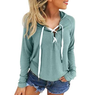 Women's Hooded Sweatshirt Plus Size Autumn Hoodies Pullover Long Sleeve Sports Top Deep V Neck Cross Lace Up Moletom Feminino#Y3