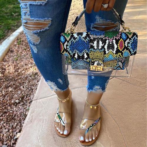 2020 Women Slippers New Summer Outdoor Flat Female Beach Woman Fashion Transparent Snake Pattern Ladies Wild Big Size Slides 42