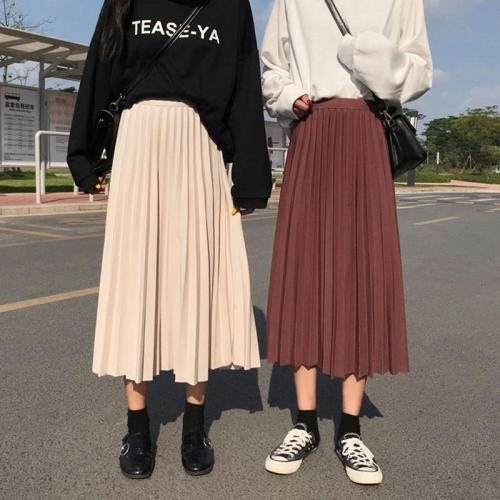 Solid Pleated Skirts Women Long Maxi Skirts Elastic Waist Autumn Winter Harajuku Skirt Party Korean Elegant 2019 Pleated Skirt