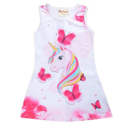 2020 Summer Girls Dress Butterfly Unicorn Print Kids Dresses Baby Girls Princess Dress Party Clothes Sleeveless Birthday Dresses