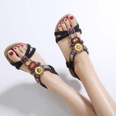 Women Beach Sandals String Bead Bohemia Style Summer Flat Shoes Woman Casual Sandal For Vacation Back Strap Female Footwear