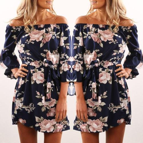 Women Dress 2020 Summer Sexy Off Shoulder Floral Print Chiffon Dress Boho Style Short Party Beach Dresses Vestidos de fiesta 3XL