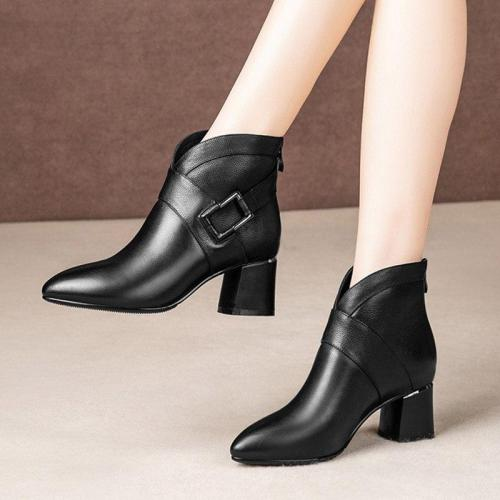 High Heels Women Ankle Boots Buckle Black Boot Office Work Shoes Woman Botas Mujer Pointed Toe Chunky Heeled Gladiator Boot 7836
