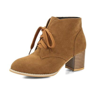 Plus Size 35-43 High Heels Women Ankle Boots Lace Up Office Work Shoes Faux Suede Bare boots 2020 Winter botas mujer Female 7818