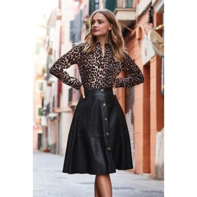 2020 New Style Autumn Winter PU Leather Skirt Midi A-Line Elegant Solid Color Button High Waist Skirt