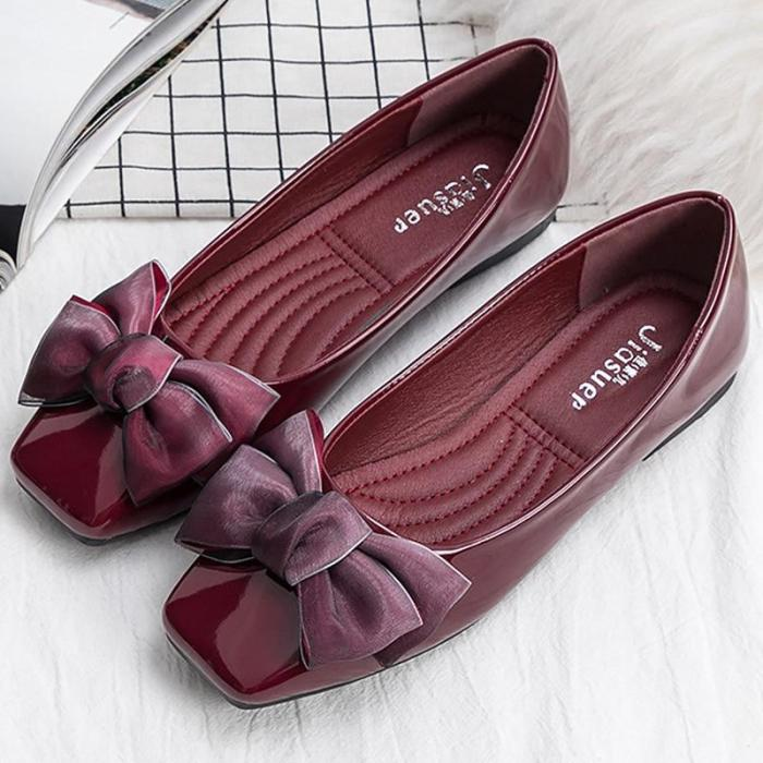 Flat shoes women fashion butterfly-knot square toe party leather ballet flats big size 4.5-9 shallow ladies flat shoes