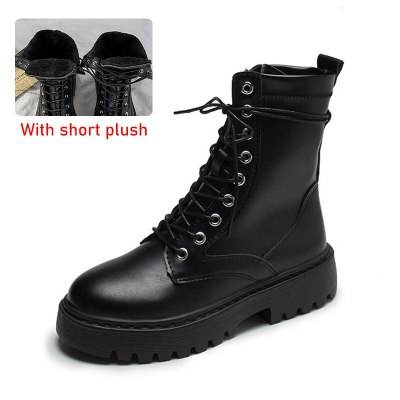 Rimocy White Black PU Leather Ankle Boots Women Autumn Winter Round Toe Lace Up Shoes Woman Fashion Motorcycle Platform Botas
