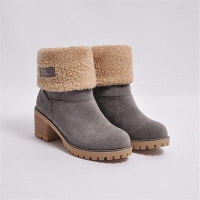 2020 New Women Winter Snow Warm Boots 5cm High Heels Fur Felt Russia Jeans Boots Block Low Heels Plush Ankle Booties Cheap Shoes
