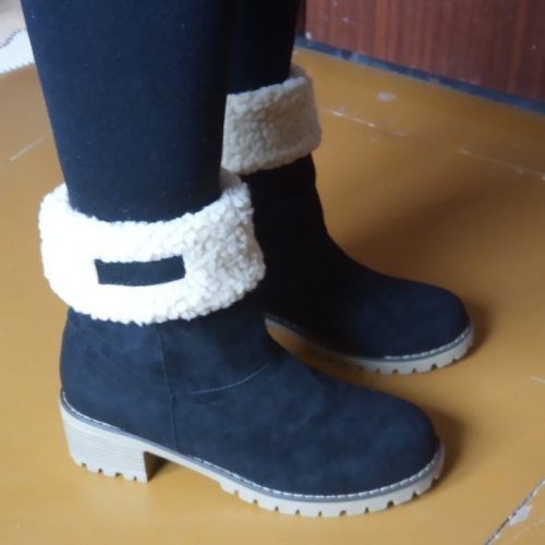 2020 New Women Winter Snow Warm Boots 5cm High Heels Fur Felt Russia Jeans Boots Block Low Heels Plush Ankle Booties Cheap Shoes
